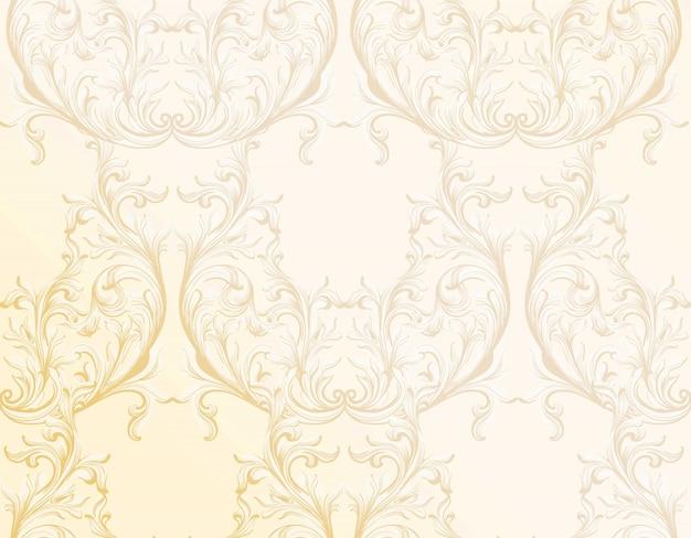 バロック様式の黄金のパターンの背景。オーナメント招待状、結婚式、挨拶状の装飾。ベクトルイラスト