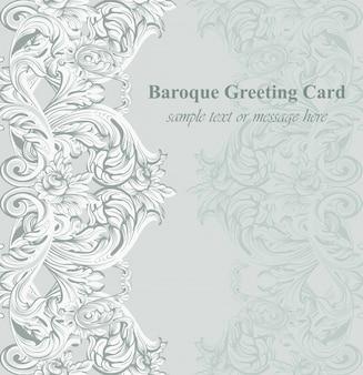 Baroque greeting card. acanthus ornament texture. vector templates