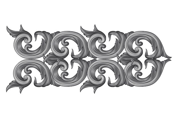 Baroque hand-drawn ornamental border