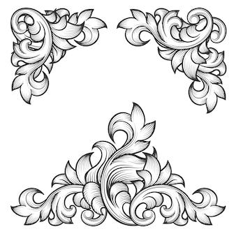 바로크 잎 프레임 소용돌이 장식 디자인 요소 집합. 꽃 조각, 패션 패턴 모티브,