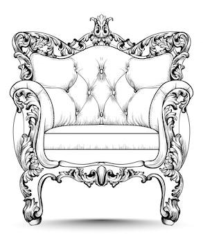 Baroque luxury armchair. furniture with victorian ornamented decor. vector realistic desig