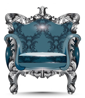 Baroque luxury armchair. furniture with victorian ornamented fabric. vector realistic 3d d