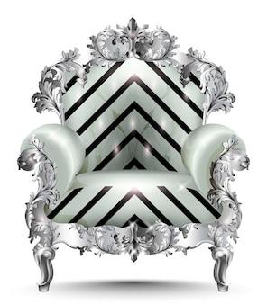 바로크 럭셔리 안락 의자. 현실적인 3d 디자인 벡터