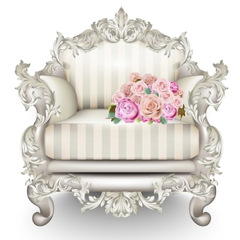 Baroque luxury armchair with roses, rich furniture carved ornamented