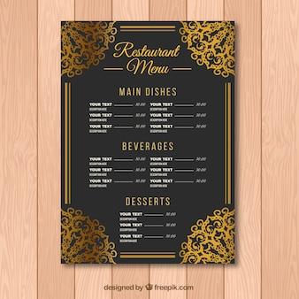 Шаблон меню в стиле барокко с золотыми украшениями