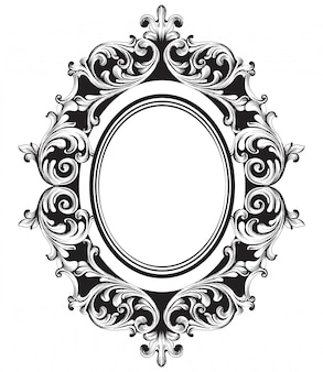 Baroque mirror frame line art