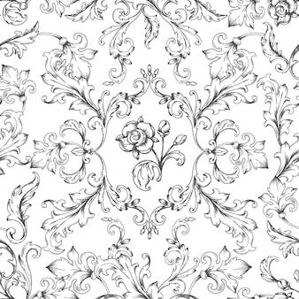 バロック様式の飾り模様。刻まれた葉、ヴィンテージのビクトリア朝のシームレスなテクスチャと装飾的な花のボーダー要素。ベクトルの紋章の壁紙、ロココ調の装飾的なイラストの花の背景