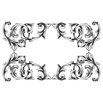 Baroque ornament with filigree for design frame, pattern.
