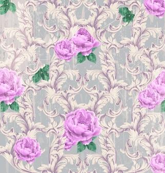 Барочный узор с красивыми розами вектор. роскошные роскошные украшения