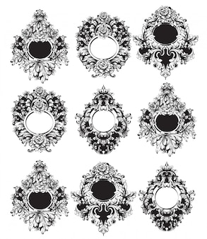 Baroque round frames collection