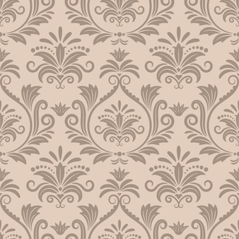 Baroque seamless vector pattern. ornamental design retro textile, curve victorian beige illustration
