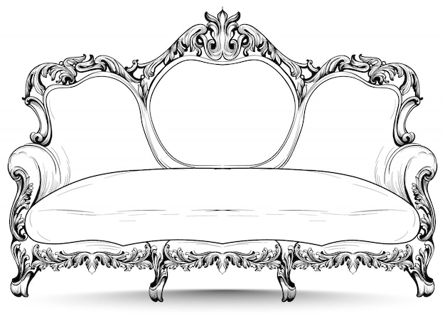 Baroque sofa with luxurious ornaments. french luxury rich intricate structure. victorian royal style decors