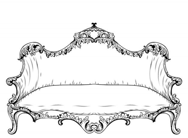 豪華な装飾が施されたバロック様式のソファ。ベクトルフランスの贅沢な豊富な複雑な構造。ビクトリアン・ロイヤル・スタイル・デコース
