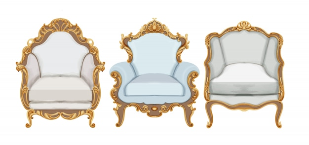 Baroque style chairs with gold elegant decor