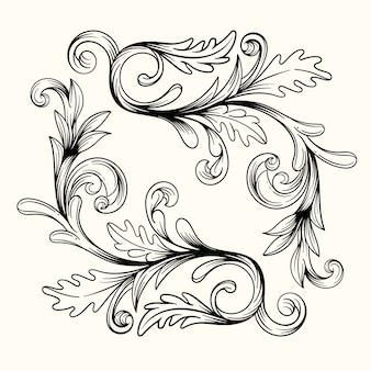 Baroque style hand drawn realistic ornamental border