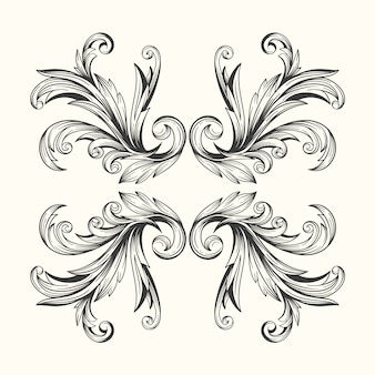 Baroque style realistic hand drawn ornamental border