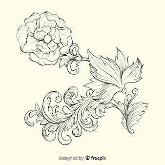 Baroque vintage flower