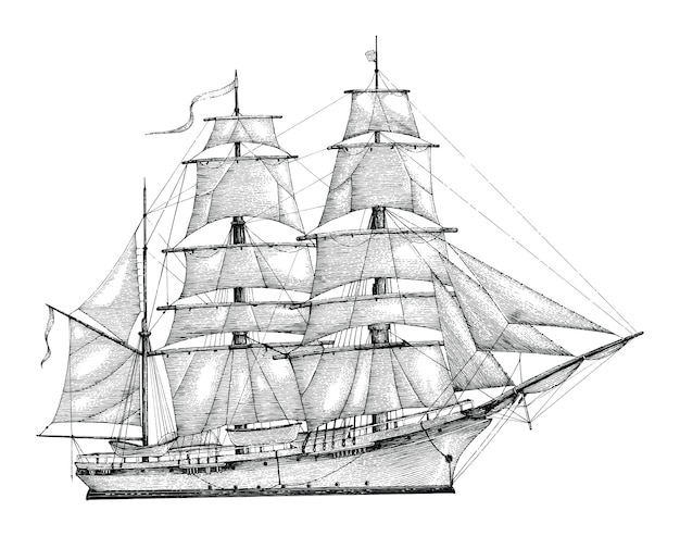 Barque hand drawing engraving style,vintage barque isolate