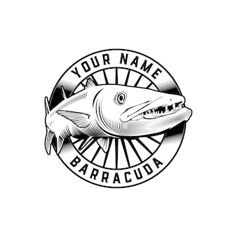 Barracuda fish classic badge logo template