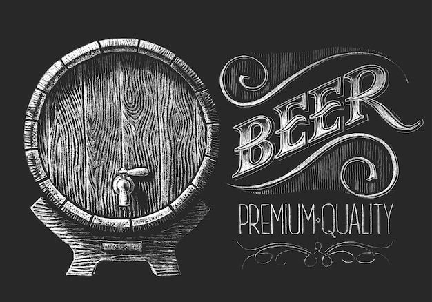 Barrel of beer with wheat wreath drawn on the chalkboard