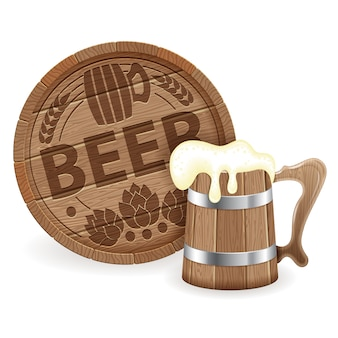 Barrel of beer and wooden mug