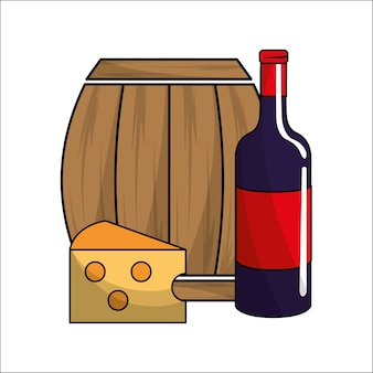 Barrel, bottle of wine and cheese icon