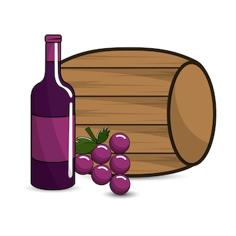 Barrel, bottle of wine and grape icon