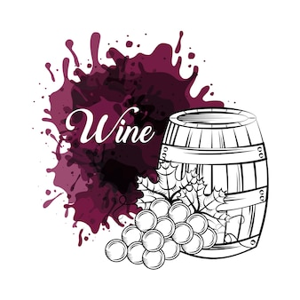 Barrel and bunch of grapes