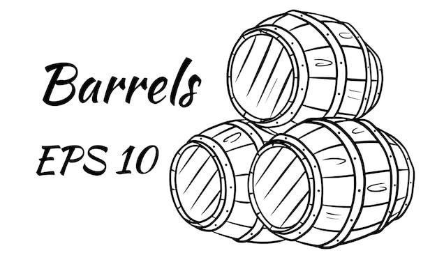 Бочка для вина или пива. векторная иллюстрация. отдельный на белом фоне.