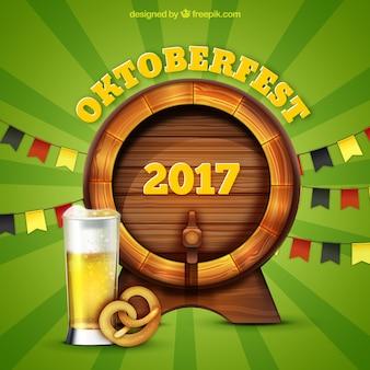Barrel, pretzel and beer glass
