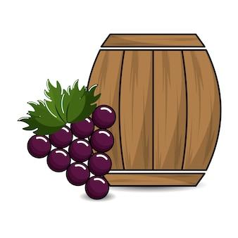 Barrel of wine with grape icon