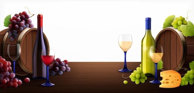 Botte, vini e uva su una superficie di legno sfondo isolato