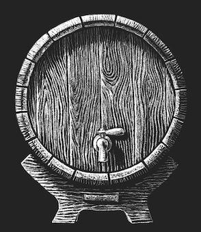 Barrel with faucet drawn on the chalkboard