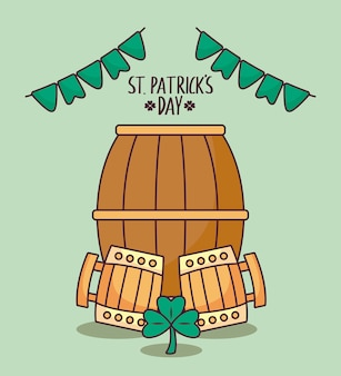 Barrel with wooden jars beers of st patrick day