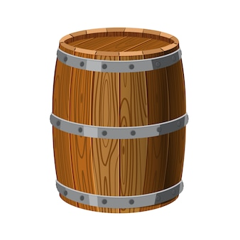 Barrel wooden with metal stripes, for alcohol, wine, rum, beer and other beverages, or treasures, gunpowder