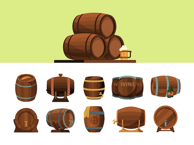Barrels. wooden cartoon barrel for alcohol production packages for wine an beer vector pirate symbols. illustration barrel cartoon, cask for wine or beer