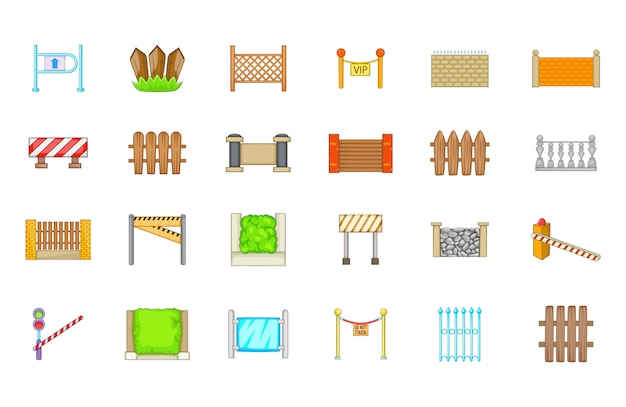 Набор барьерных элементов. мультяшный набор барьерных векторных элементов