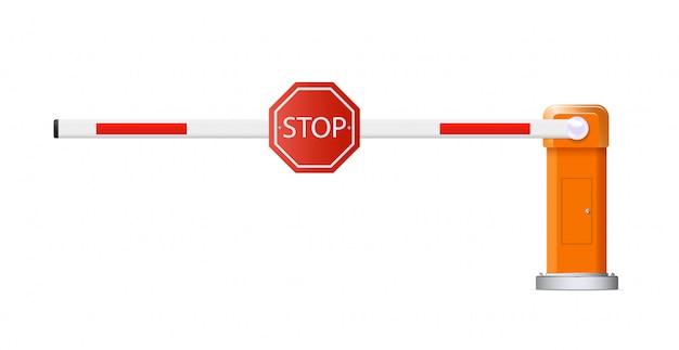 장벽 무리. 개방형 및 폐쇄 형 빨간색과 흰색 자동차 장벽의 자세한 그림.