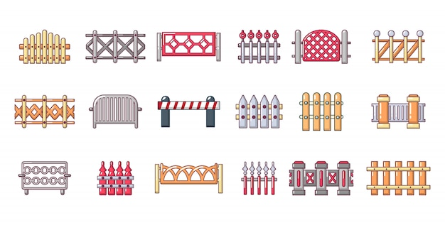 Barrier icon set. cartoon set of barrier vector icons set isolated