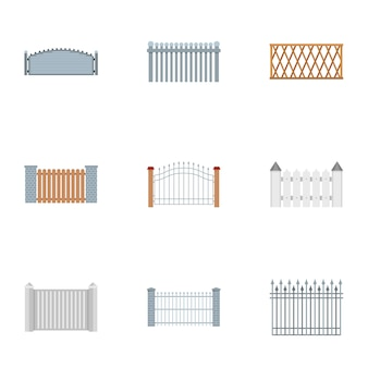 Barrier icons set, flat style