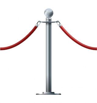 Barrier rope isolated on white. silver luxury vip concept 3d render