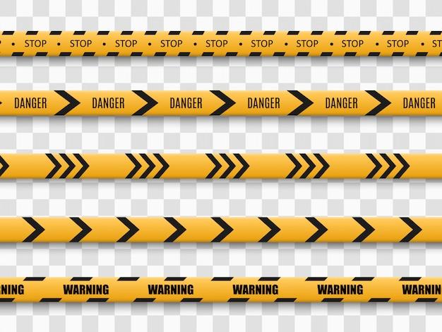 투명 배경에 장벽 경고 테이프입니다. 삽화.