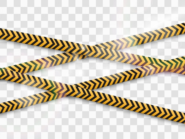 透明な背景にバリア警告テープ。図。
