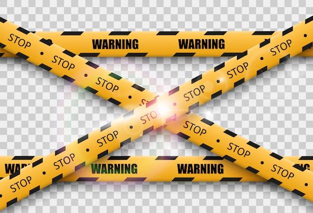 투명 배경에 장벽 경고 테이프. 삽화.
