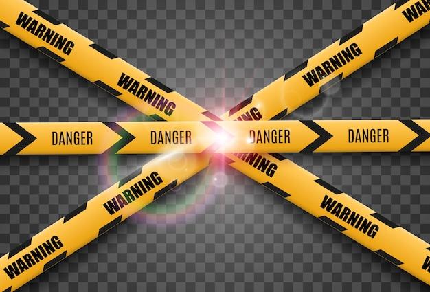 Предупреждающая лента барьера на прозрачном фоне. иллюстрация.