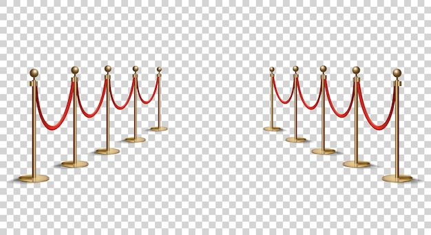 Barriers with red rope line. vip zone, closed event restriction. realistic image of golden poles with velvet rope. isolated