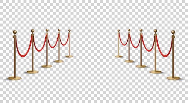 Барьеры с красной веревочной линией. vip-зона, ограничение на закрытые мероприятия. реалистичное изображение золотых шестов с бархатной веревкой. изолированные