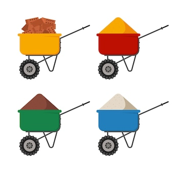 Barrow with sand, bricks, ground and cement cartoon set isolated on a white background.