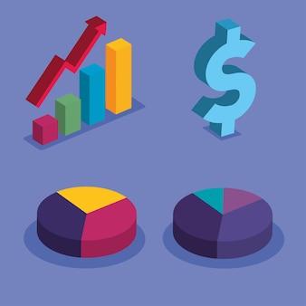 Гистограмма с увеличивающейся стрелкой денег и дизайном торта, анализ данных и информационная тема