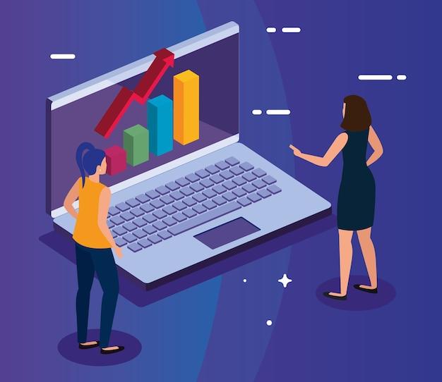 노트북 및 여성 디자인, 데이터 분석 및 정보 테마에 증가 화살표가있는 막대 차트